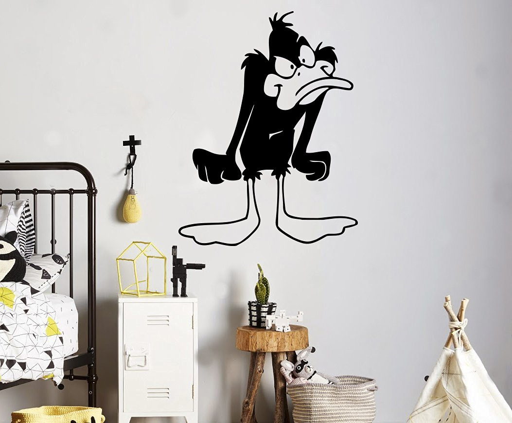 Daffy duck wall decal cartoons comics vinyl sticker duck superhero home interior living room window decals