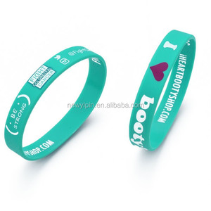 Customized cheap good quality printed LOGO silicone bracelet wristband with outside inside logo printing