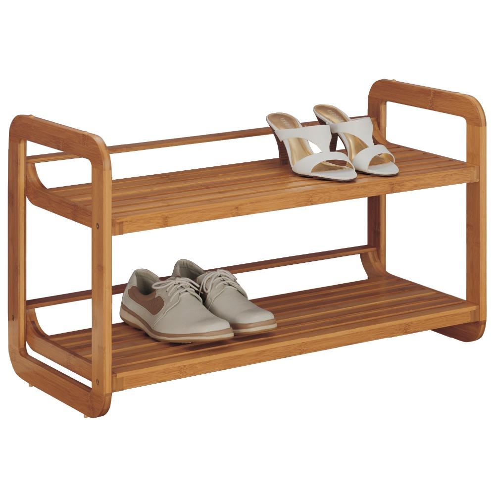 2-Tier-Stackable-Bamboo-Shoe-Rack