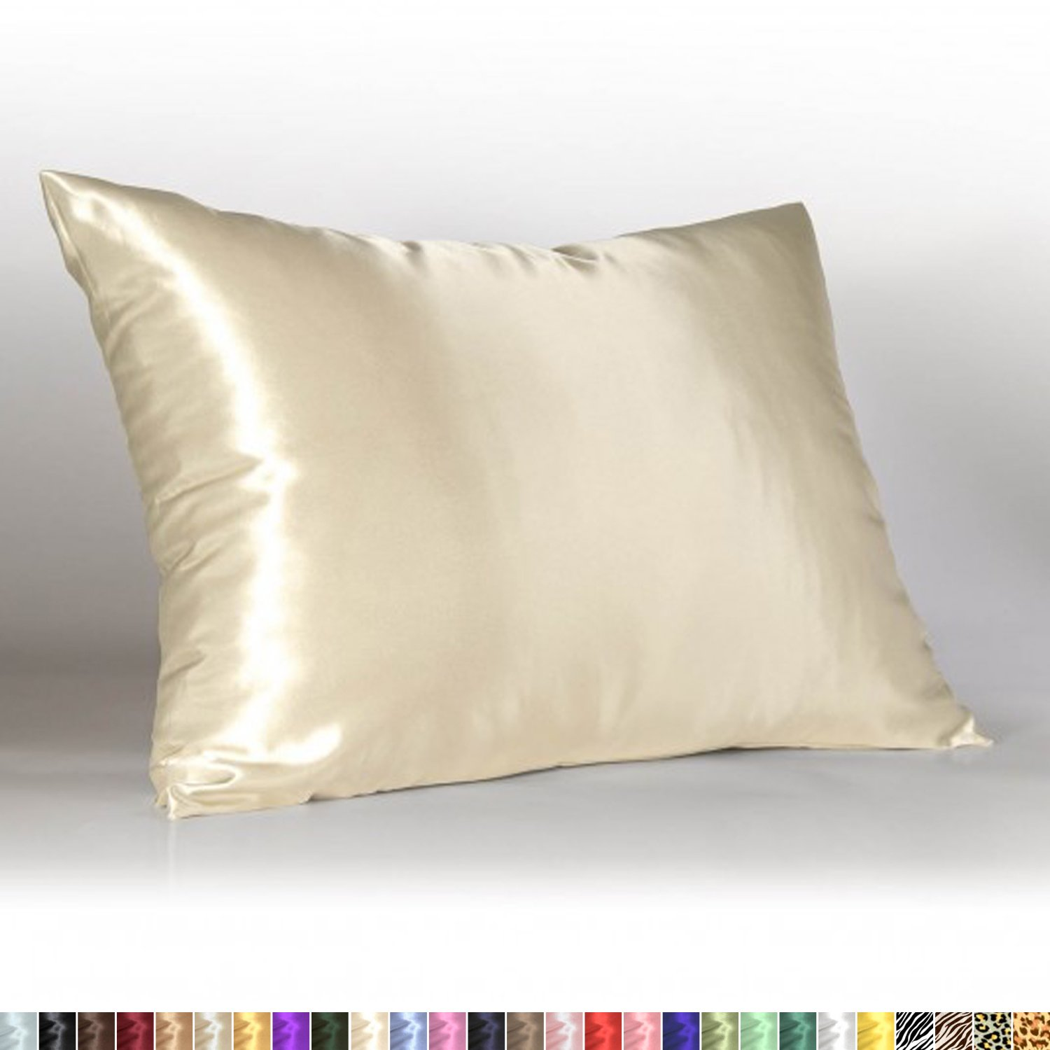 Sweet Dreams - Blissford Luxury Satin Pillowcase with Zipper, Standard Size, Ivory (Silky Satin Pillow Case for Hair) By Shop Bedding (1-Pack)