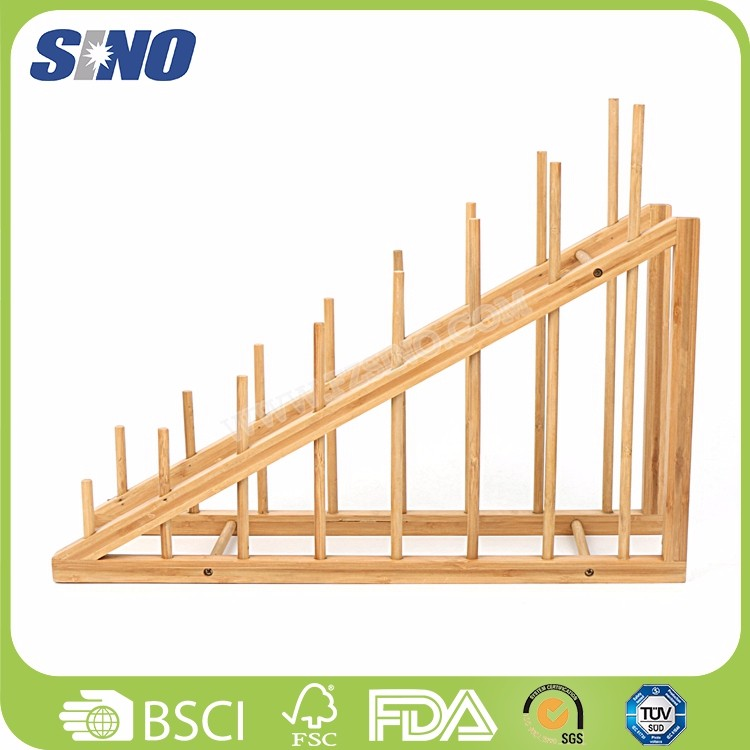 China Bamboo Eco-friendly Dish Stand For Kitchen
