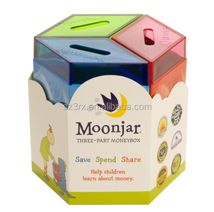 Classic Save Spend Share Clear Money boxes/Custom Part Clear plastic Money boxes/OEM made Money boxes China Maker