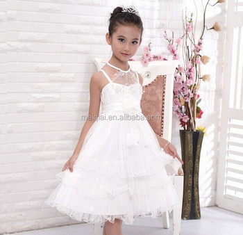 Free Dhl Hang Neck Beige Flower Birthday Dress For Of 7 Year Old P