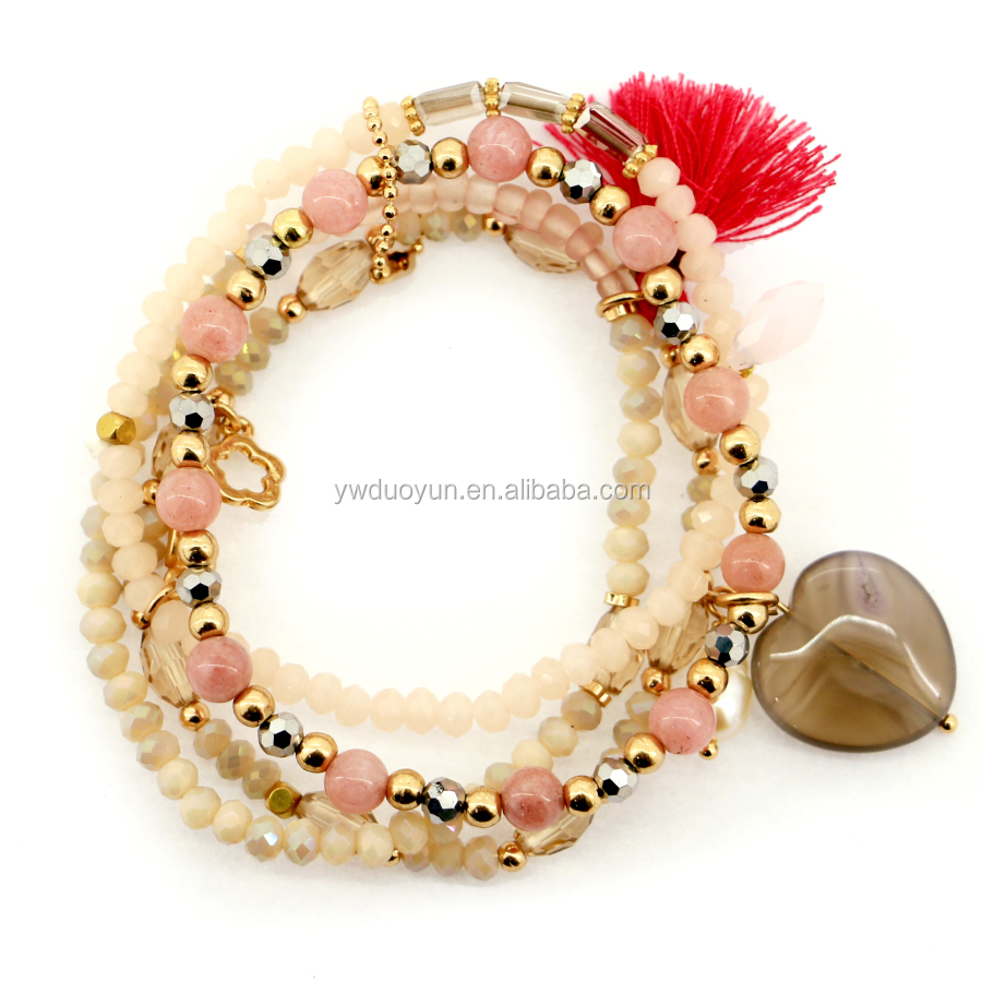 Best Selling Products 4 Strands Crystal And Natural Stone Bracelet With Agate Heart Charm