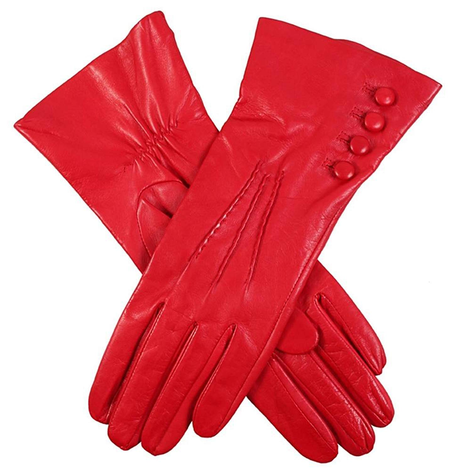 Dents Womens Rose Silk Lined Leather Gloves - Berry