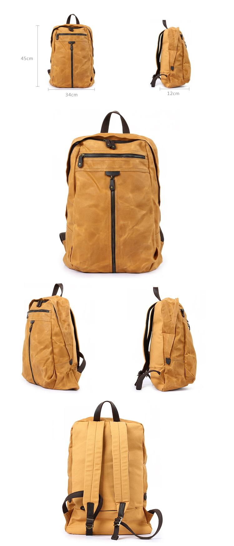 2018 Fancy vintage wholesale latest design brand waxed canvas satchel water proof resistant rucksack backpack bag