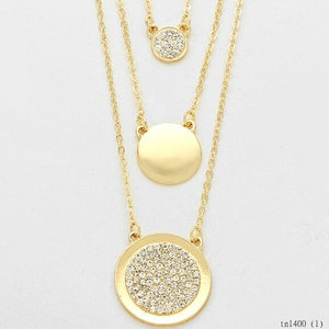 Fashion Triple Round Gold Dot Layered Necklace Monogram Gold Disc Pendant Jewelry Crystal Disc Personalized Necklace