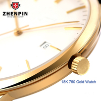 Low MOQ gold watch support custom automatic wristwatch 18K 24K gold watch for men