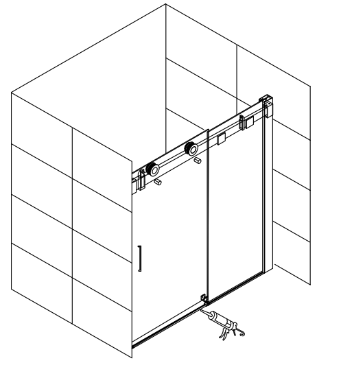 304 Stainless Steel 10mm Frameless Sliding Glass Shower Bath Screen(KD8113)