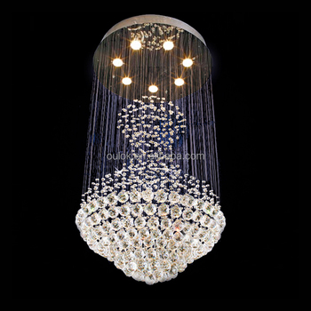 Modern Round Clear Crystal Ball Led Hanging Pendant Lamp ...