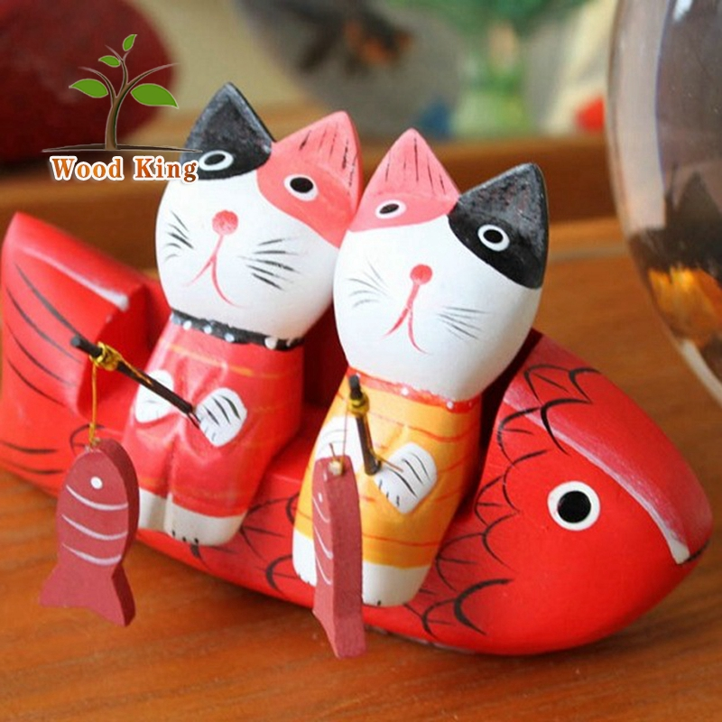 ZAKKA Nordic Artware Manual Sculpture Lover Cat Suit Wooden Coloured Kitten Fishing Vintage Table Home Decoration Modern