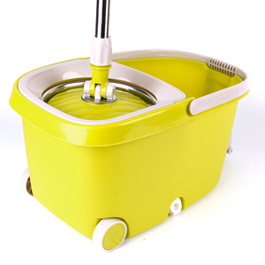Hand Press Spin pole Mop with 360 Rotating Pole Bucket 2 Microfiber Heads housekeeper dust mop