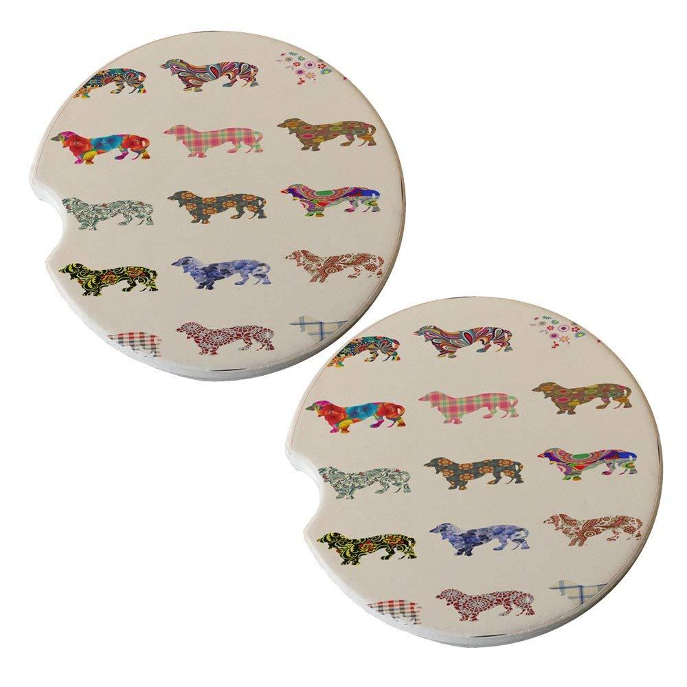 Daschund Dog Pattern - Sandstone Car Drink Coaster (set of 2 coasters)