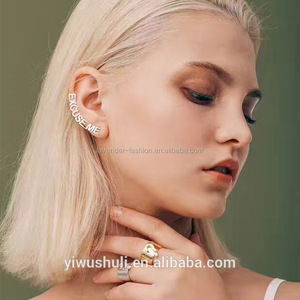 south Korean contracted s925 anti - allergy earring letter girl ulzzang ear nail female ear bone clip temperament earring