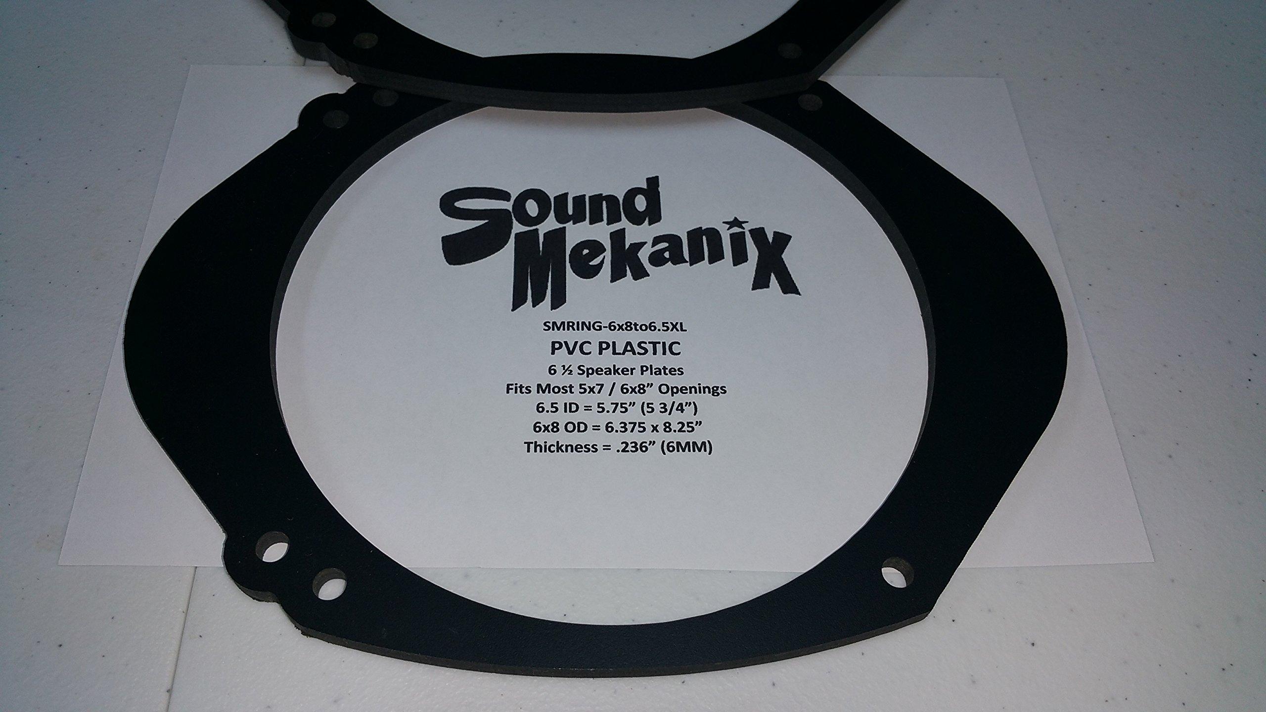 "Sound Mekanix PVC Plastic Speaker / Spacer Rings, 5x7"" / 6x8"" to 6.5"" X-large 6mm One Pair"