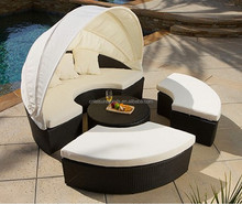 High Back Outdoor Rattan Sectional Curved Sofas