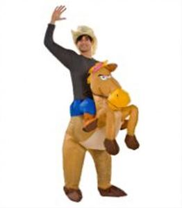 New arrival funny party adult suit full cap riding inflatable horse costume