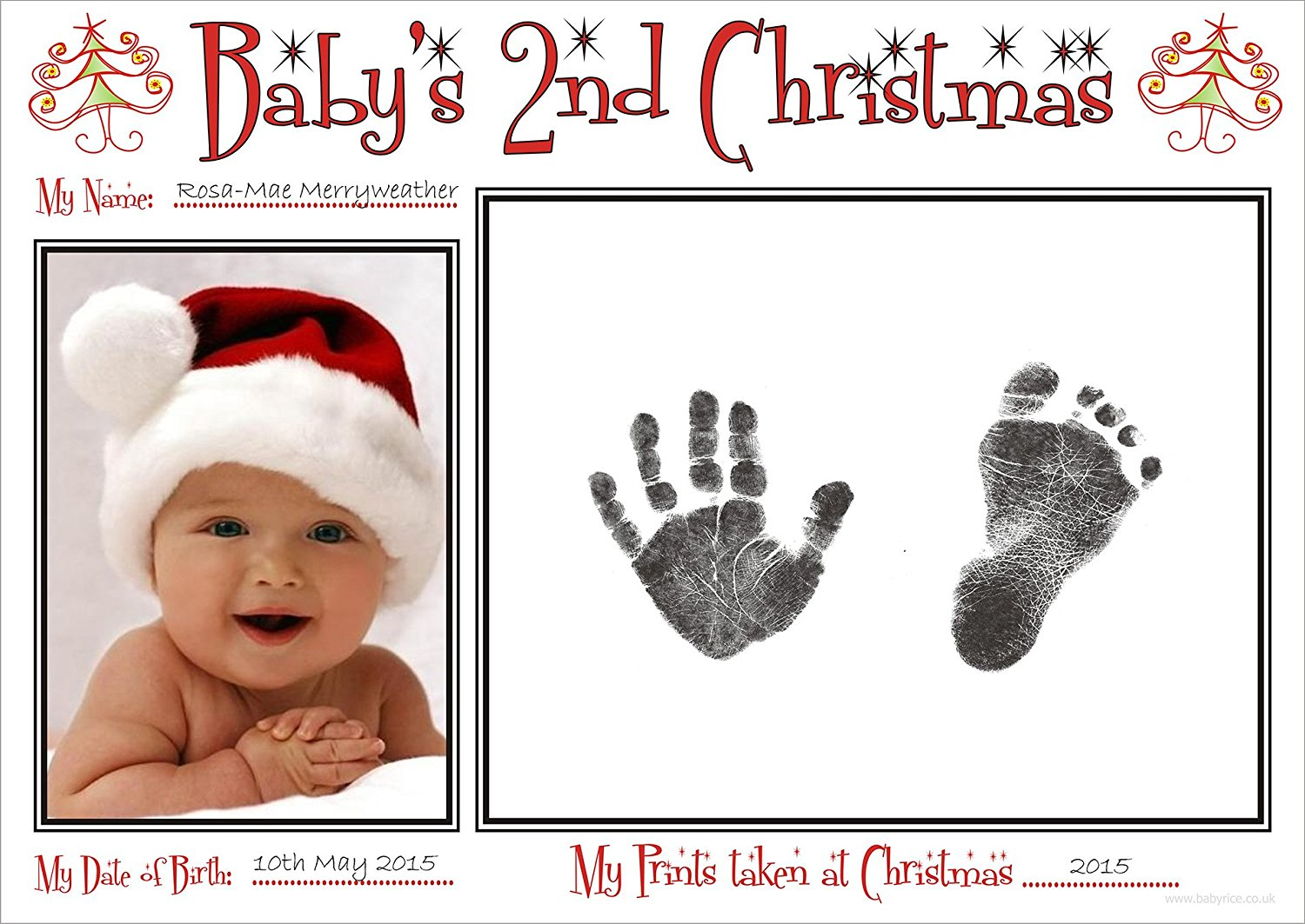 BabyRice New Baby's 2nd Christmas Handprint & Footprint Kit / Boy Girl Unisex Babys Prints on 2nd Xmas