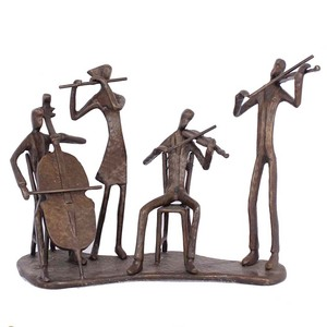 Cast iron bronze sculpture music metal figurines for home decor the marching band