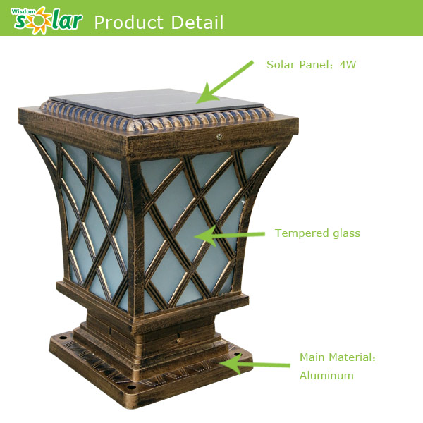 Aluminum Trellis Main Gate Post Lights / Solar Post Lights For Garden  Lighting/ Main Gate