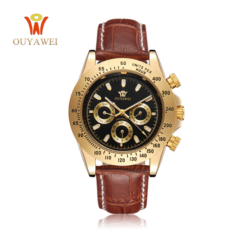 NEWEST OUYAWEI Gold mechanical watch Top Brand Luxury army men wrist watch mechanical