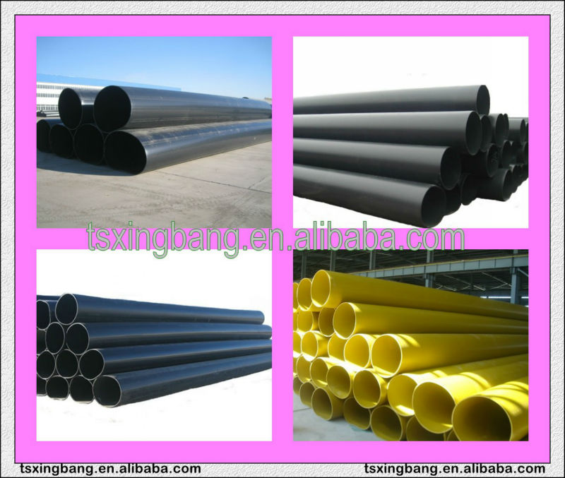 Large diameter heat resistant plastic pipe with yellow color