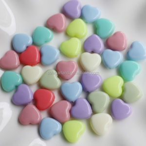 Top Quality 12*13mm Pastel Flat Plastic Candy Heart Shaped Beads Loose Charms Acrylic Beads for Jewellery