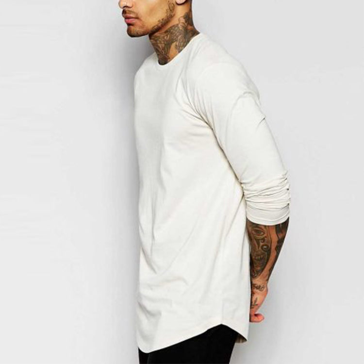 Curved Hem White T-shirts 100% Cotton Men Reflective Pima Blank Long Sleeve Crew Neck Longline T Shirt