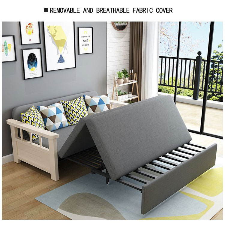 Living room solid wood armrest foldable fabric sofa cum bed