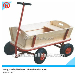 China toy wagon cart factory /children wooden trolley TC1812