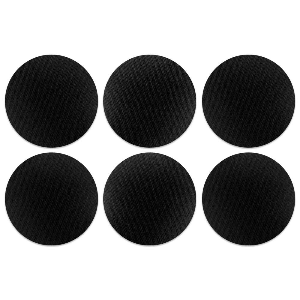 CARIBOU Coasters, Solid Black Design Absorbent ROUND Fabric Felt Neoprene Coasters for Drinks, 6pcs Set