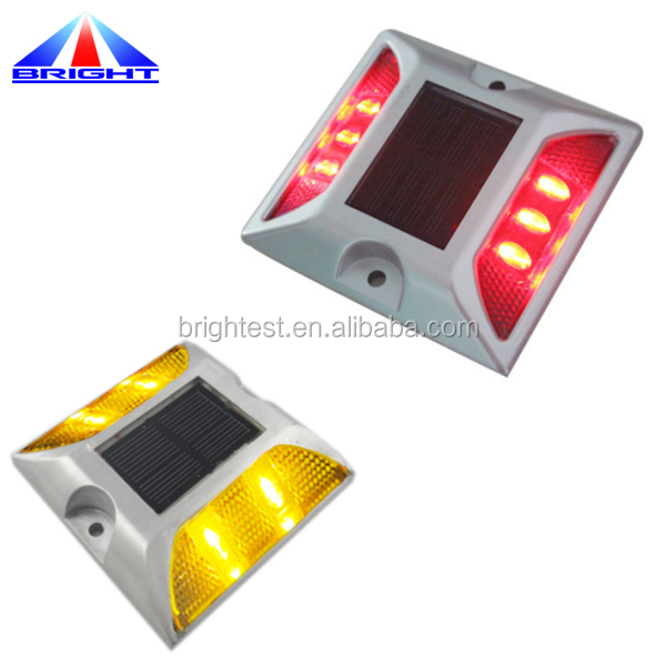 White Red Reflector Solar LED flashing Aluminum Road Stud
