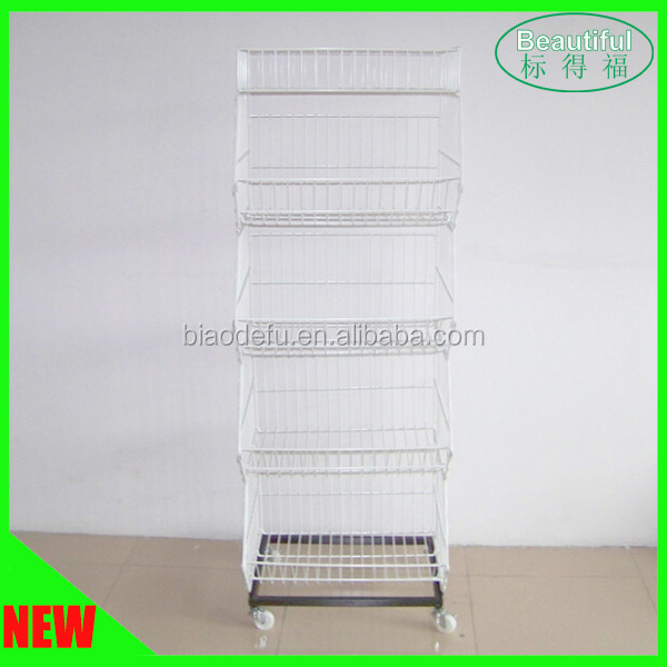 5 Tiers Rolling Wire Basket Storage Display Rack for Supermarket