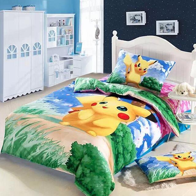 3d Pikachu Bed Kids Baby Girls Boys Bedding Set Cartoon