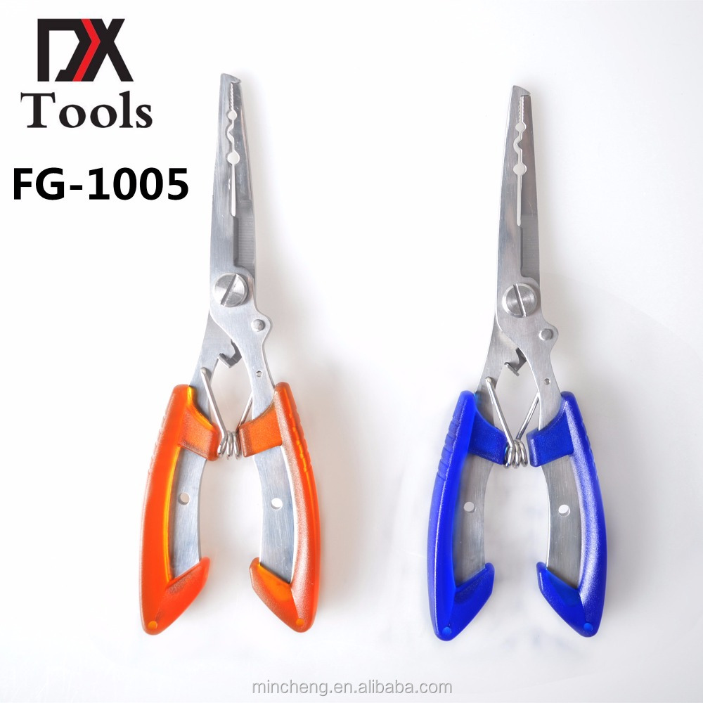 Fishing Pliers Stainless Steel Fishing Tools Multifunctional Split Ring Cutters Hook Remover Scissors Tackle FG-1005, Blue/orange