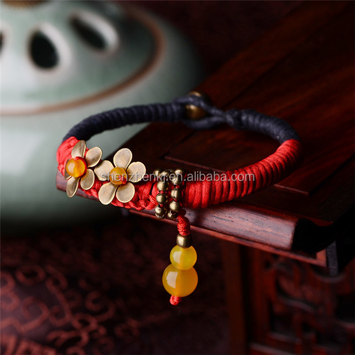Chinese style Handmade Women Braided rope bracelet brass flower bracelet