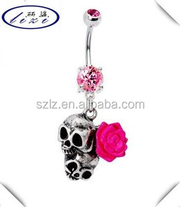 Pink Flower Dual Skull Belly Ring14 Gauge Belly Button Navel piercing Jewelry