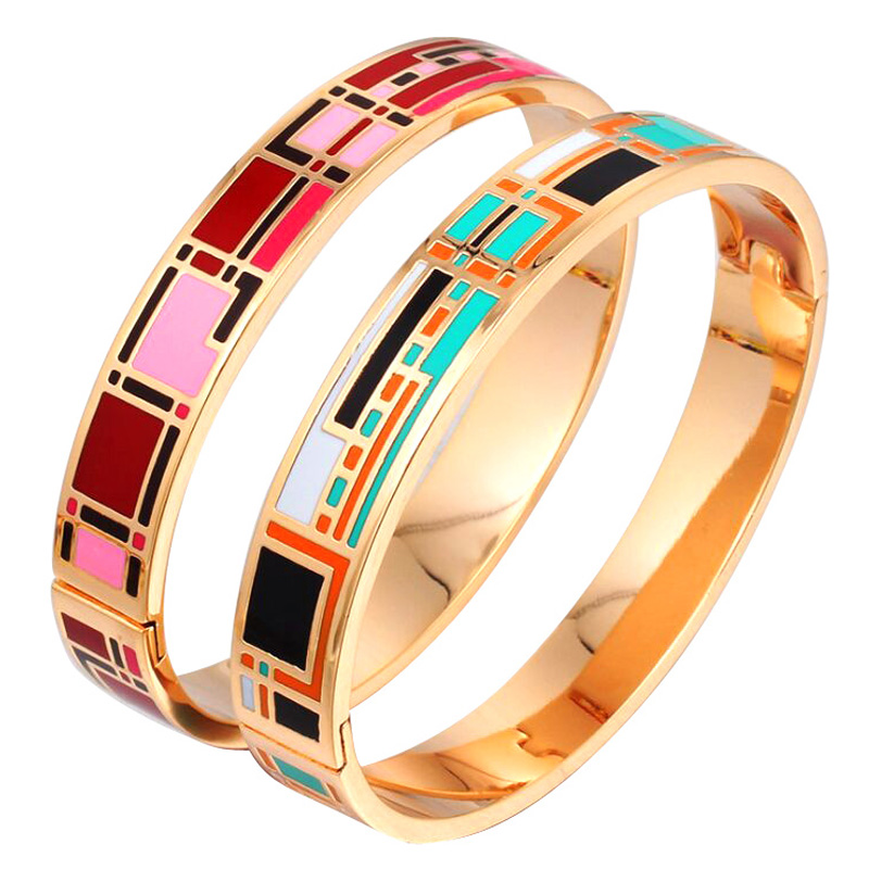 Women And Men New Style Custom Gold Plated Stainless Steel Enamel Bangle Price In Dubai фото