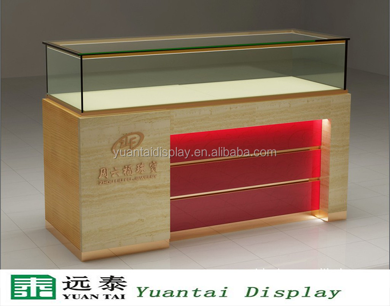 Simple Wooden Glass Jewelry Display Showcase Jewellery