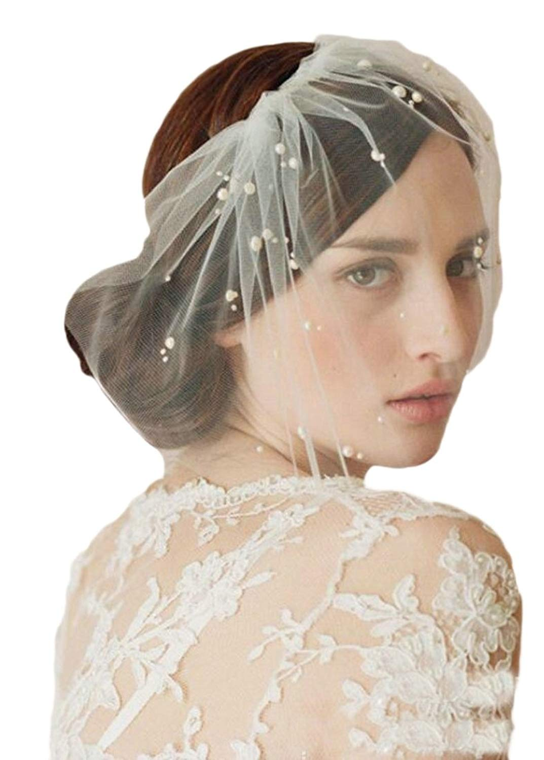 ainr Women Bridal Birdcage Veil Tulle Pearls Short Wedding Blusher Veil with Comb