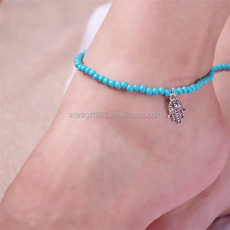 of jewelry omeng anklet cool for anklets women item turquoise hand foot hamsa rhinestone fatima beach spain