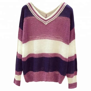 V-neck sweater manufacturer long sleeves 2018 autumn stripe pullover cotton sweater