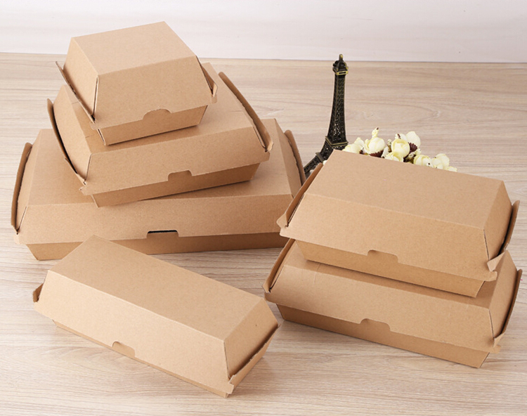 Papier kraft jetable hamburger emballage carton
