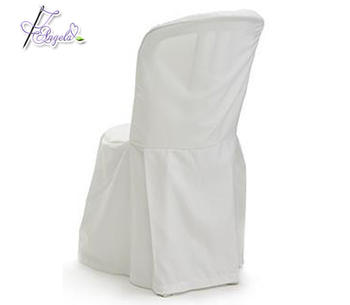 cheap white basic polyester bistro chair covers, polyester Miami chair covers for plastic bistro chairs in beach weddings