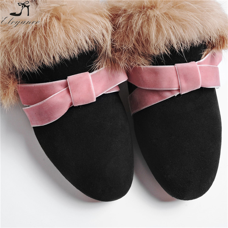 Backless Bowknot Suede Handmade Fall Women Black Loafers Shoes Flat Toe Ladies Slippers Mules Casual On Slip Sharp Fluffy Pink wB1SPqX