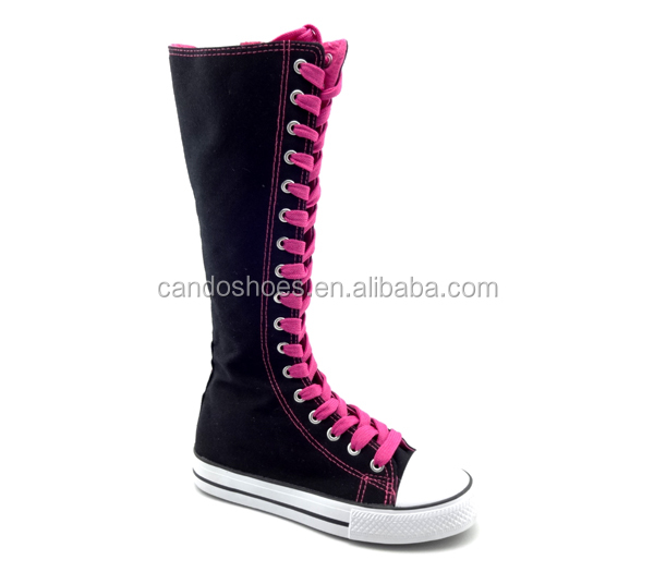 ebc2fdff869 New Canvas Sneakers Flat Tall Lace Up Knee High Boots Girl - Buy ...