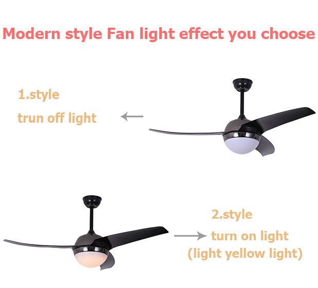 52 inch 3 blades simple black dc motor ceiling fan with lamp light