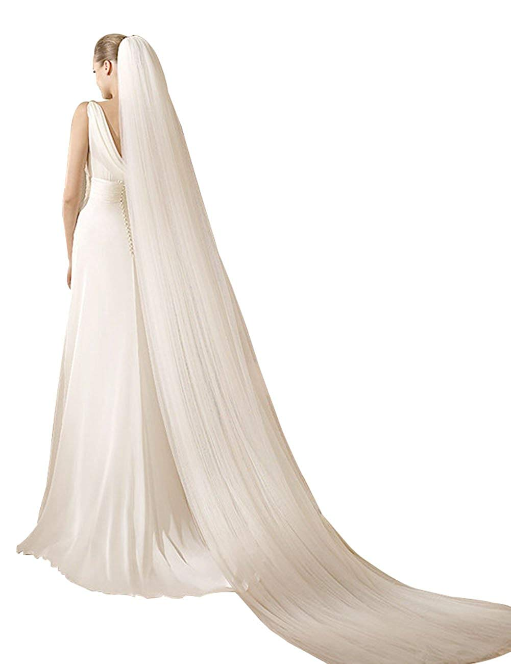 GRACIN Women's 1 Tier White Cathedral 3M Long Wedding Tulle Bridal Veil with Comb