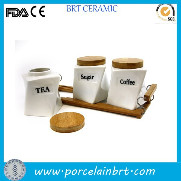 White Wooden Lid Coffee Tea Sugar Canister Sets Product On Alibaba