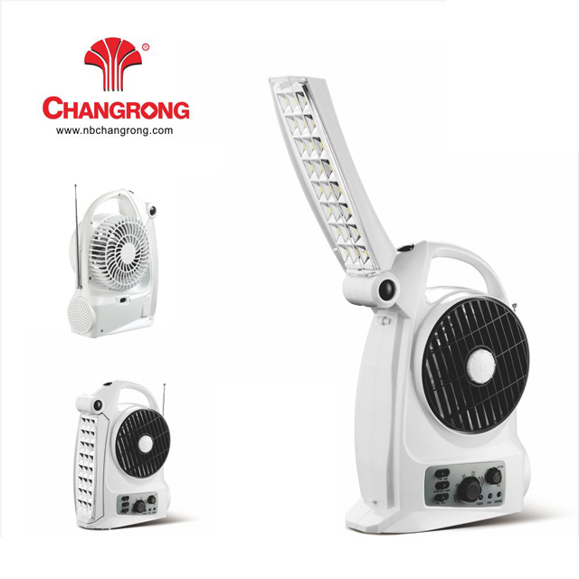 2018 solar rechargeable fan with radio and led light